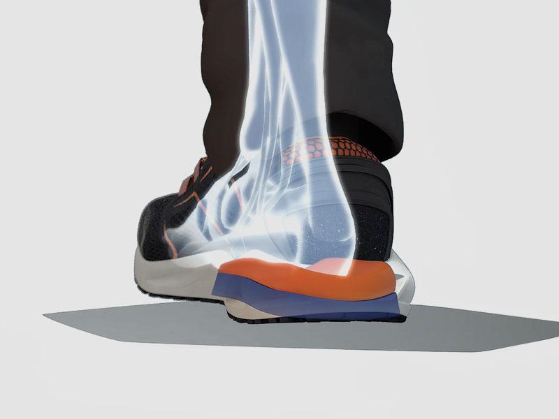 Energia wytwarzana przez uderzenie pomiędzy stopą a powierzchnią uderzenia jest pochłaniana: system reaguje dynamicznie i natychmiast wykorzystując pracę i uderzenie, aby z korzyścią dla użytkownika i zmniejszyć uczucie szoku.