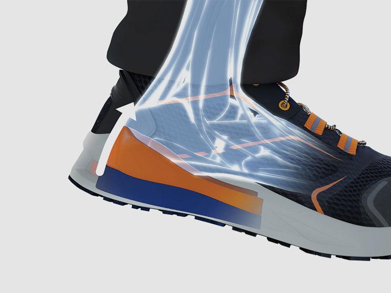 Energia jest zwracana na twoją korzyść i zmienia się w zależności od prędkości i ruchu stopy.