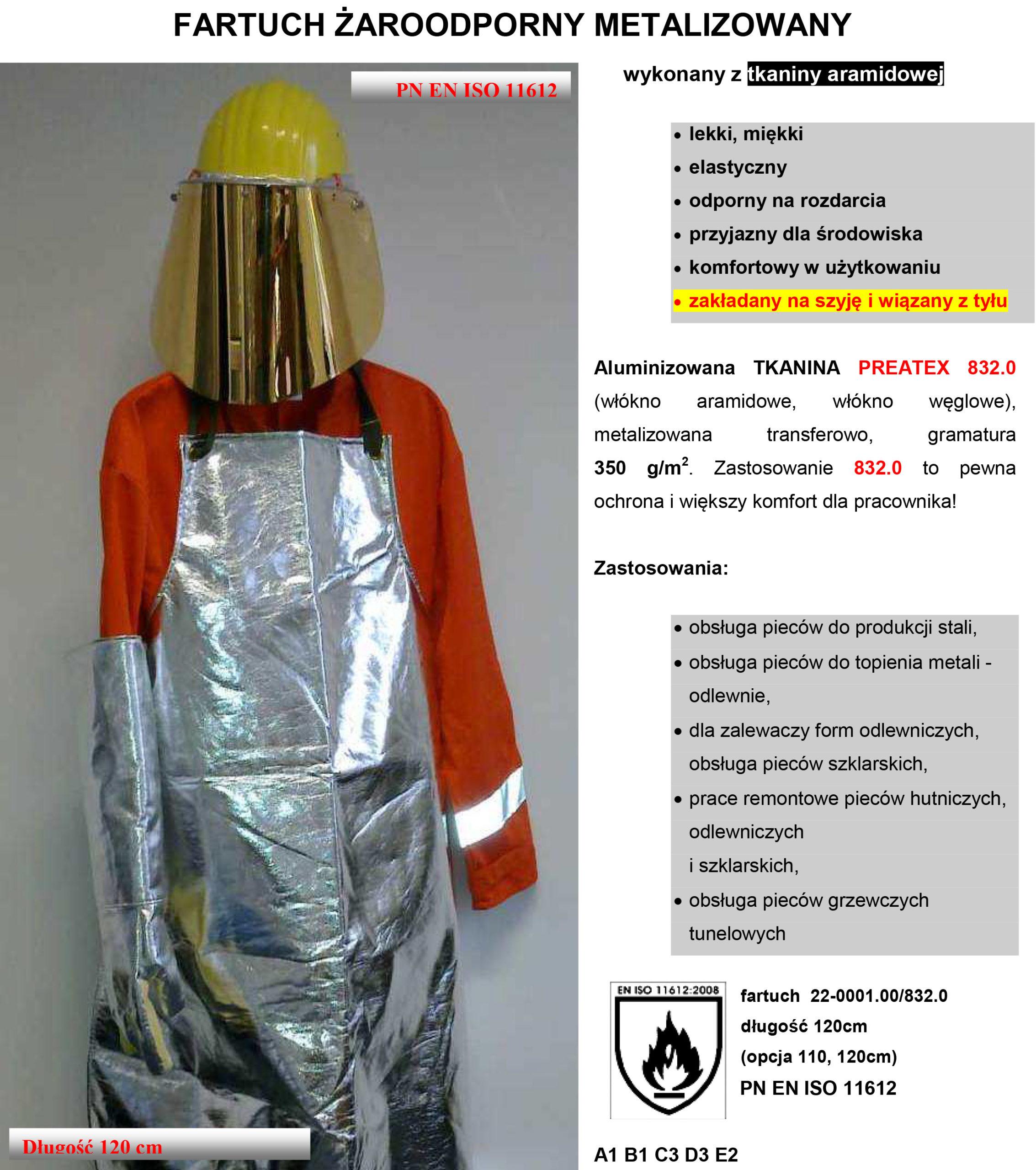 fartuch żaroodporny metalizowany